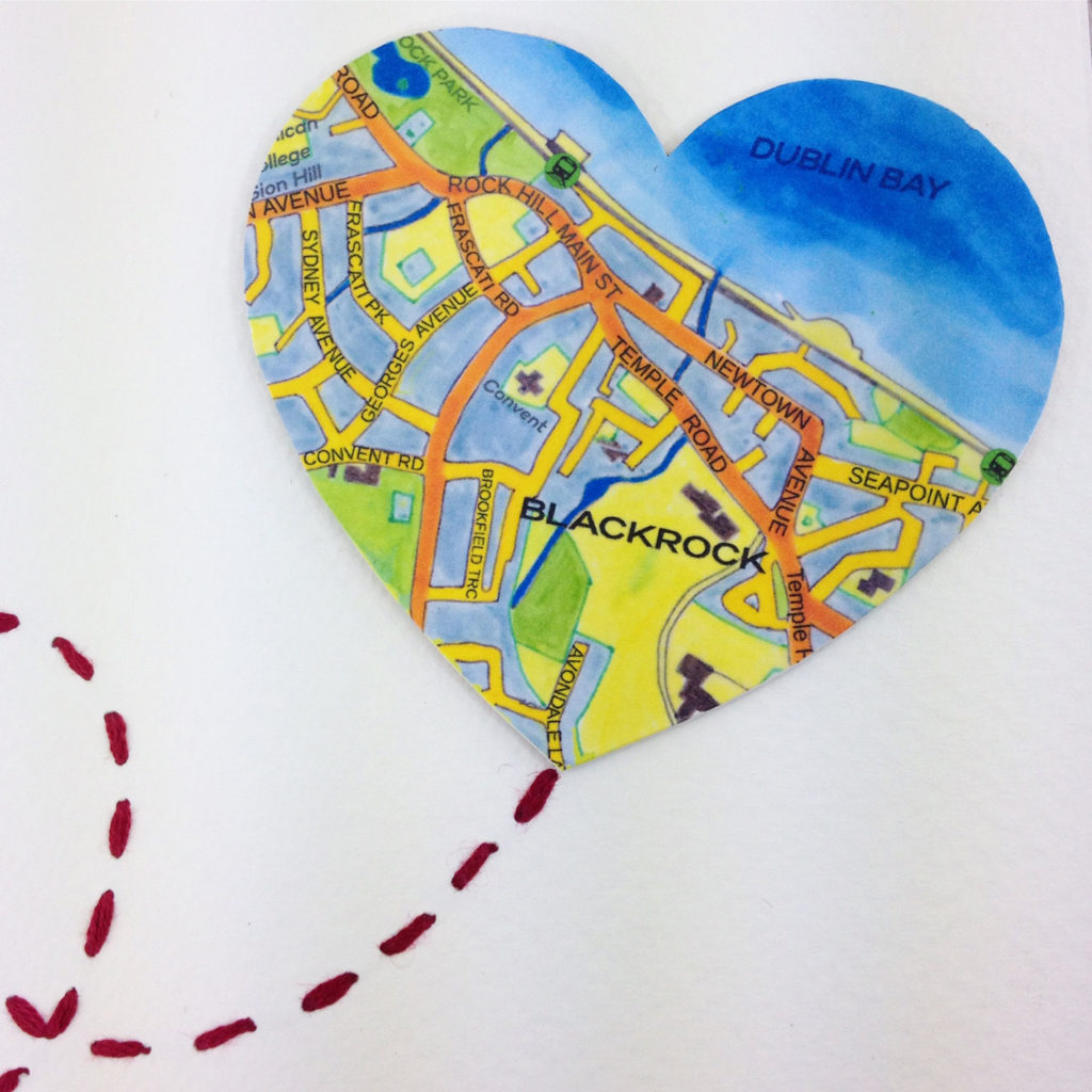hand illustrated map of blackrock south county dublin created for a wedding gift order