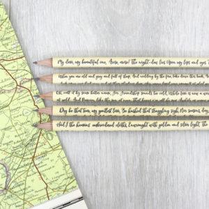 Irish Poetry Pencils gift for poets handmade in Ireland by six0six design