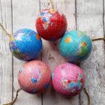 Personalised World Map Globe Christmas Tree Decorations