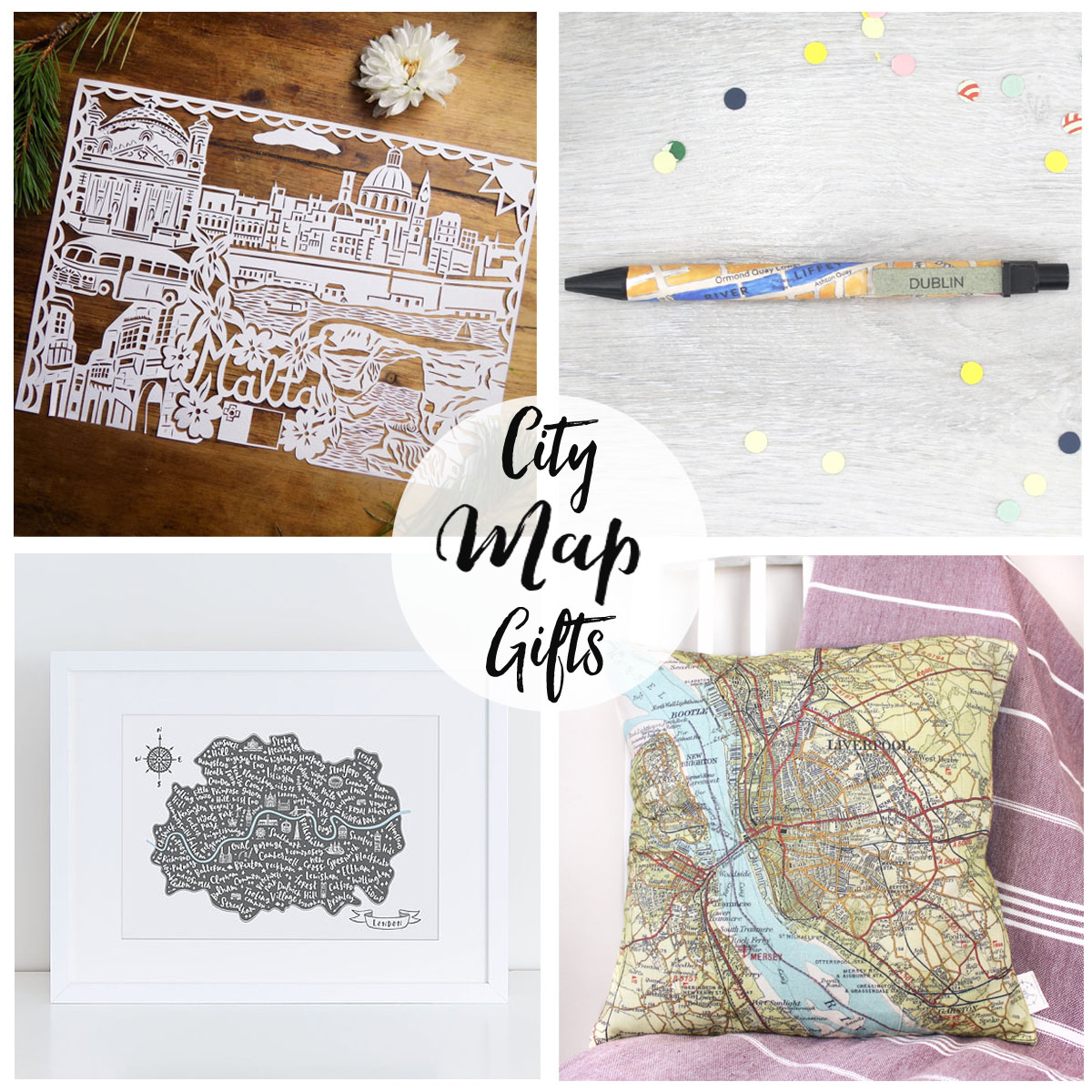 Gifts for map lovers handmade christmas gift guide from six0six design city map gifts custom map travel gifts of your home city capital city presents negle Images