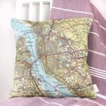 custom map location cushion from girlandbird