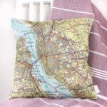 custom map location cushion from girlandbird