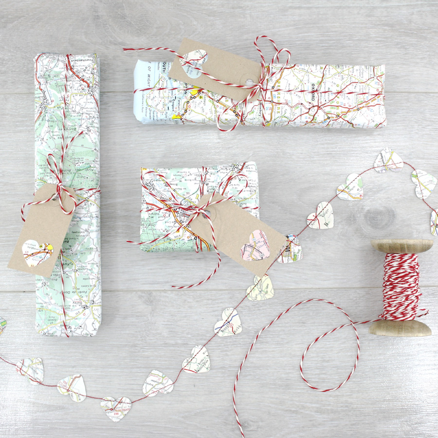 map atlas travel gift wrapping