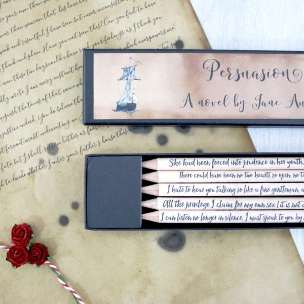 persuasion by jane austen gift pencils stationery addict and book lover gifts