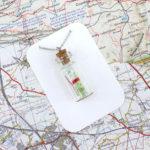 map in a bottle pendant