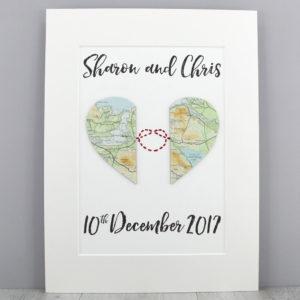 Love knot map artwork wedding gifts travel keepsakes