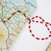 hand stitched map location keepsakes for wedding gifts