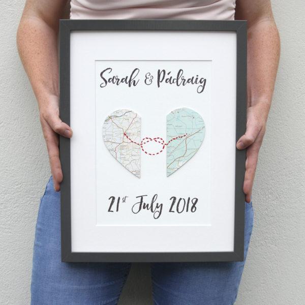 the love knot map artwork handmade wedding gifts