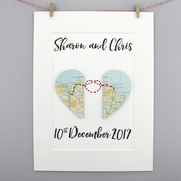wedding and anniversary gift love knot map artwork