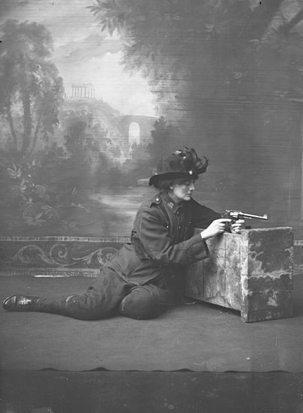 Countess Markievicz studio portrait with a gun