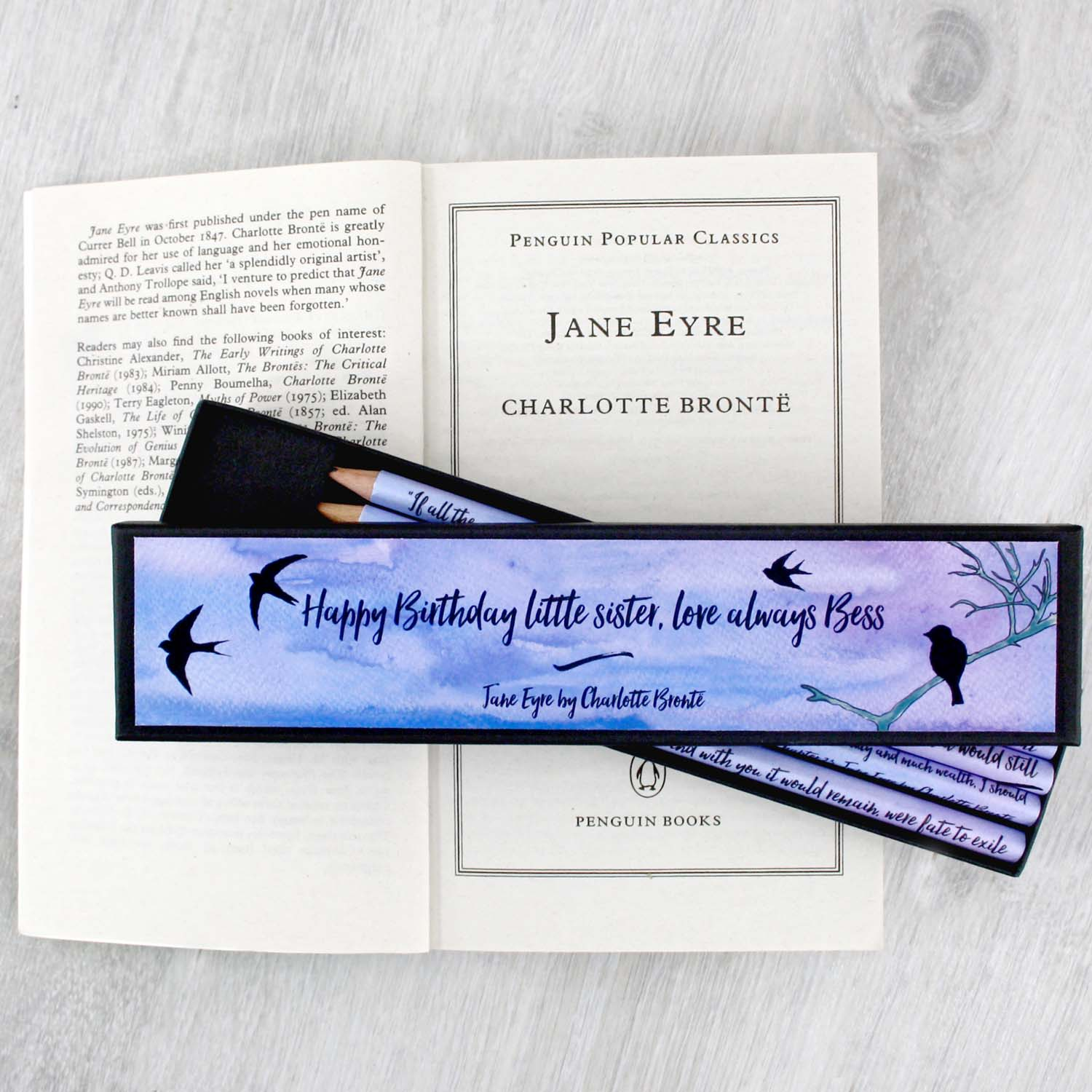 Personalised Jane Eyre Gift Pencils Charlotte Bronte Quotes
