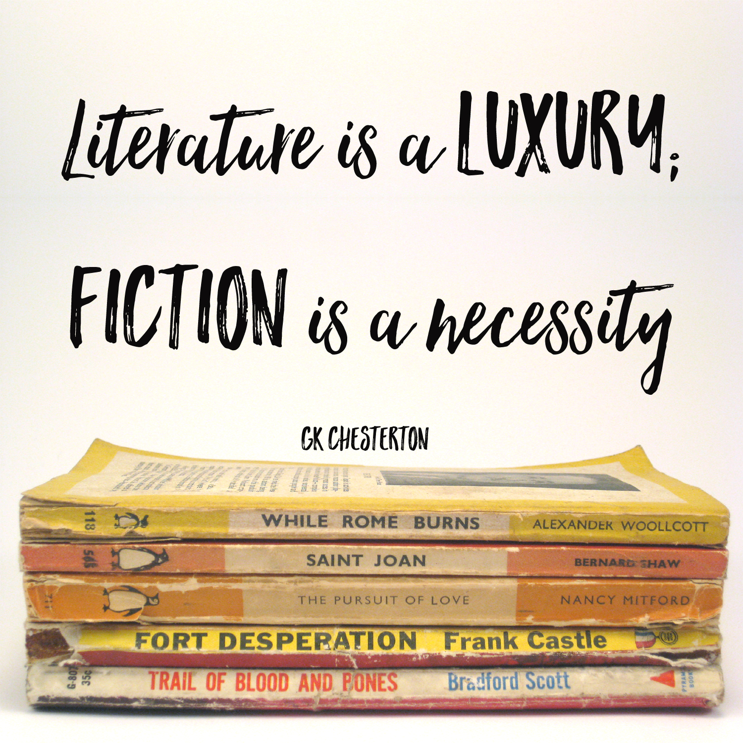 literature is a luxury fiction is a necessity quote by GK Chesterton 1901 copy