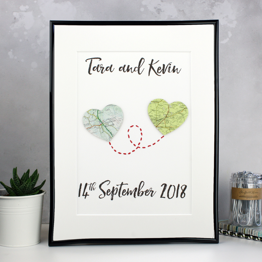 map heart artwork travel inspired anniversary gifts