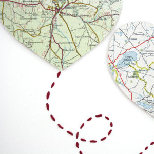 hand stitched two big hearts map artwork