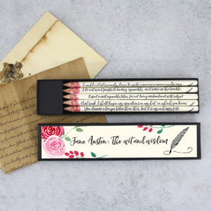 the wit and wisdom of jane austen pencil sets by six0six design
