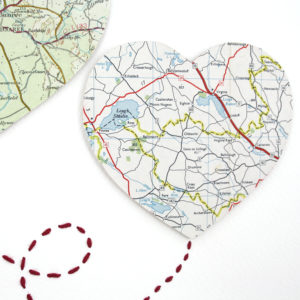 two big map hearts wedding gift artwork