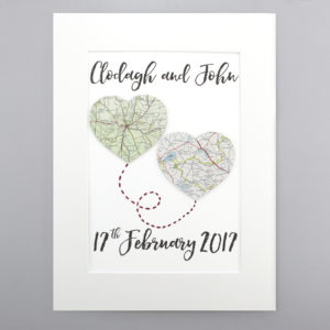 two map hearts wedding and anniversary travel gifts