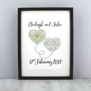 wedding map artworks gifts for the bride and groom handmade in Ireland