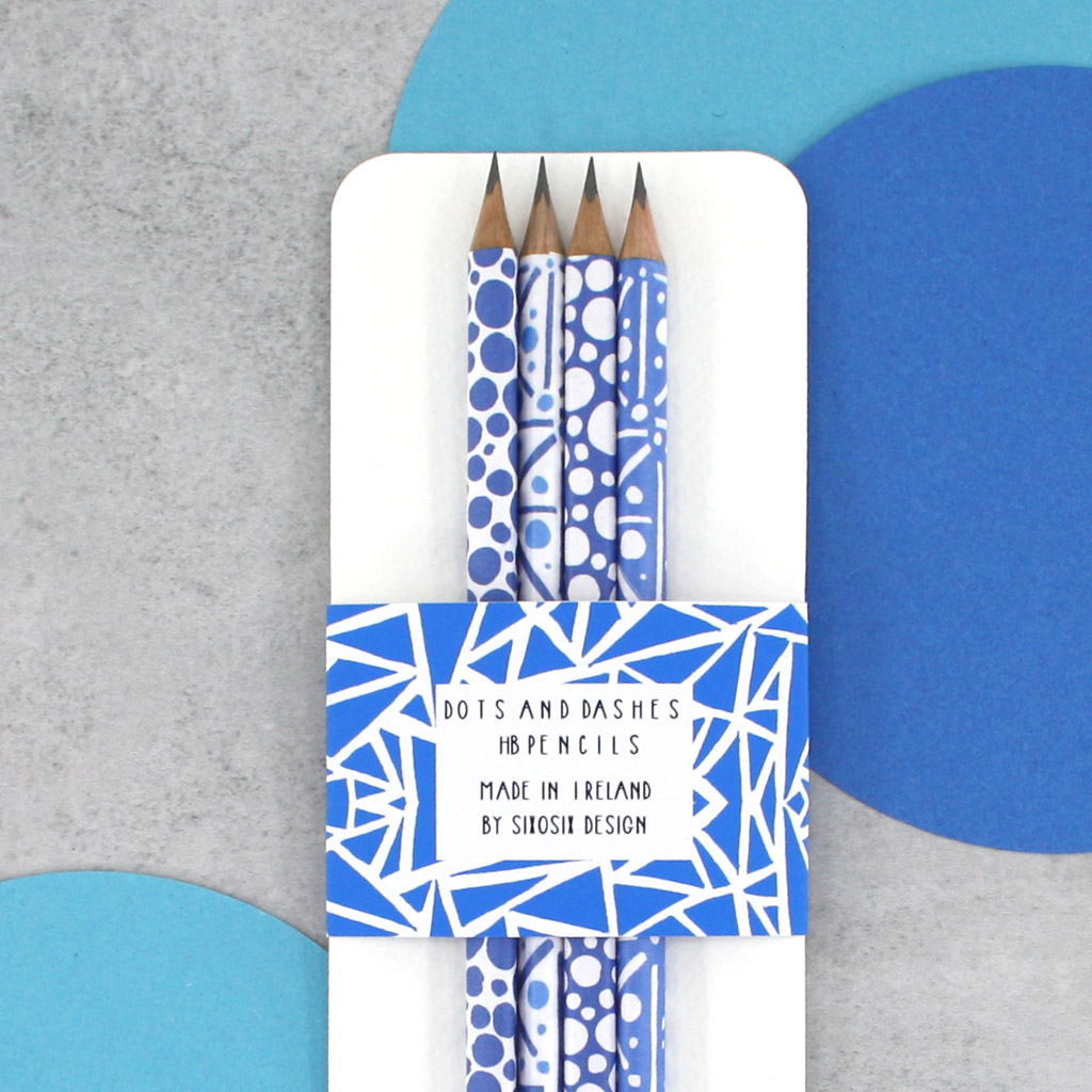 blue pattern pencils pack of pencils by six0six design