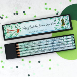 personalised secret garden gift pencils for book lovers