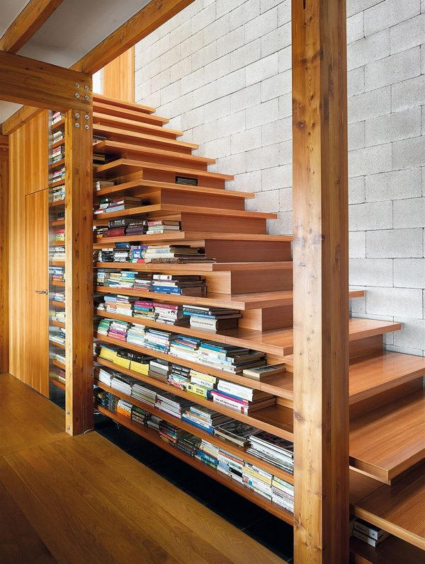 timber stairs with in built book storage