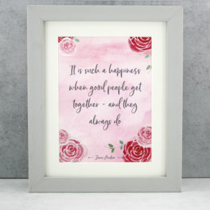 it is such a happiness jane austen literary print A5