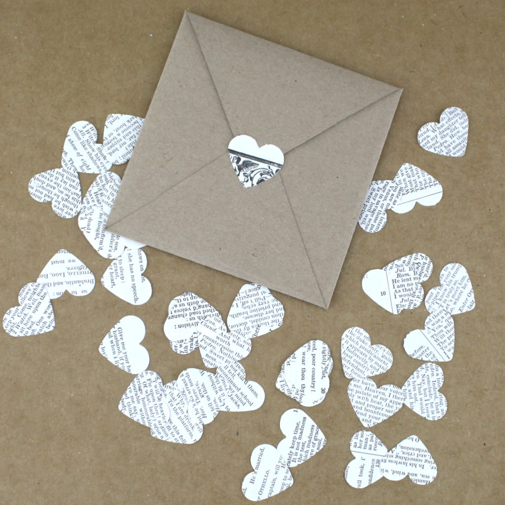 Adding book confetti to your envelope
