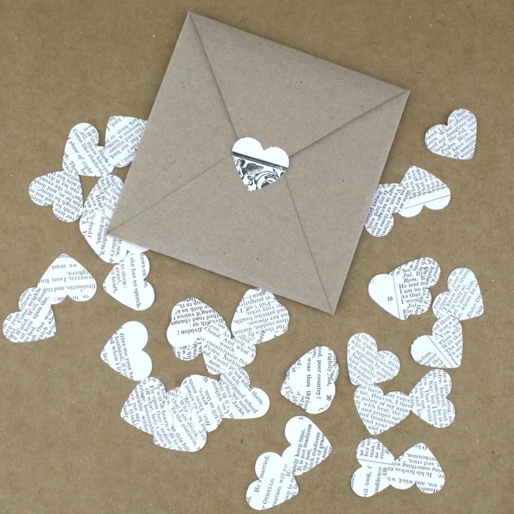 Adding book confetti to your envelope