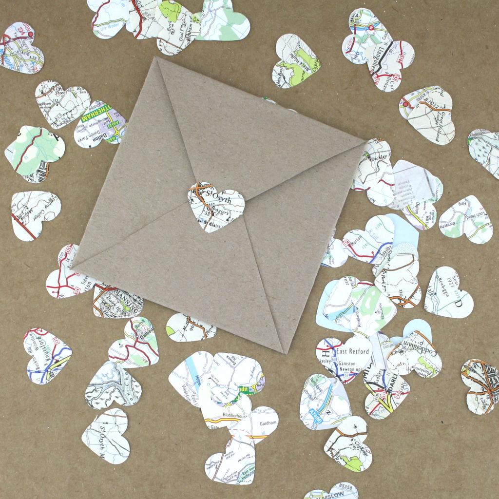 Vintage map confetti and diy envelope