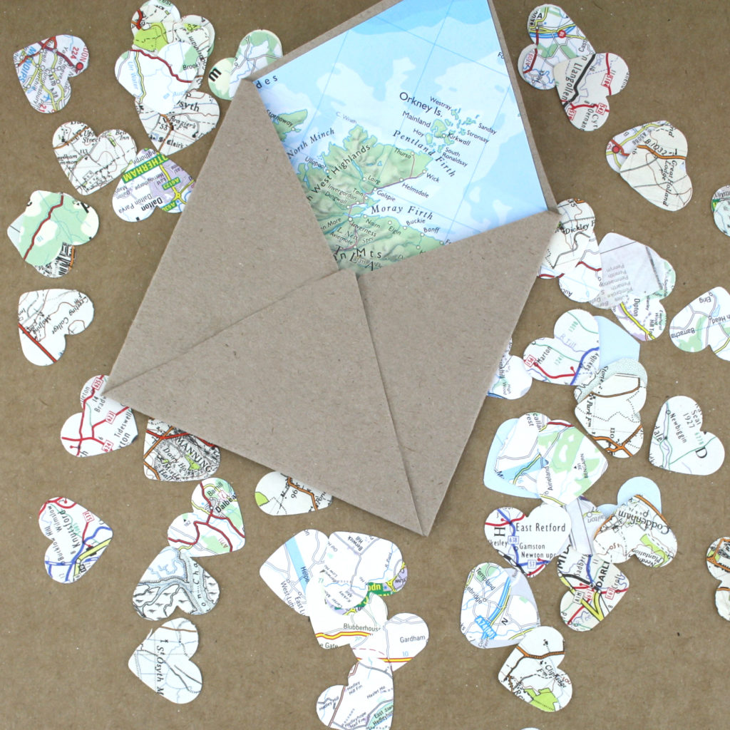 Make your own map lined envelope with matching confetti