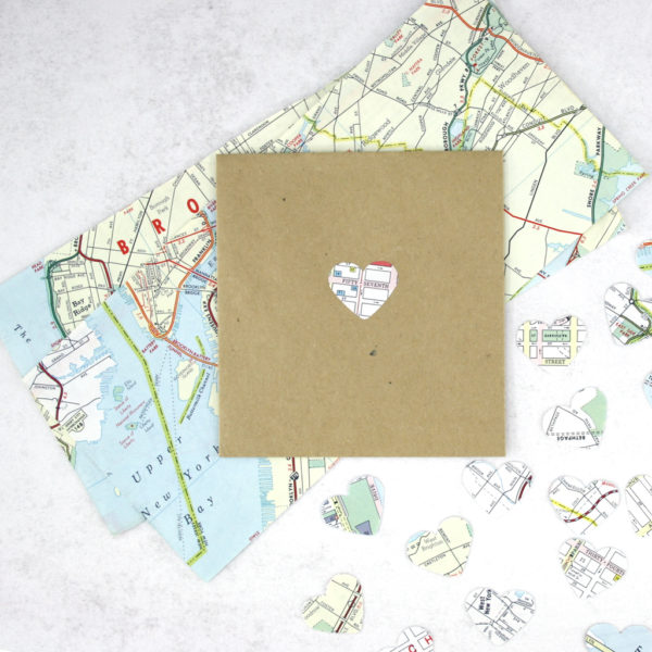 new york map confetti made using vintage travel maps of new york city six0six design