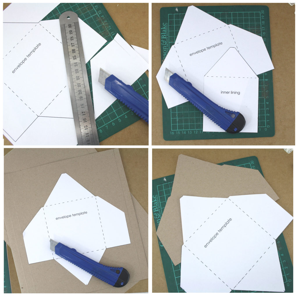 step 1 and 2 cut out your templates and select your material to make your envelope