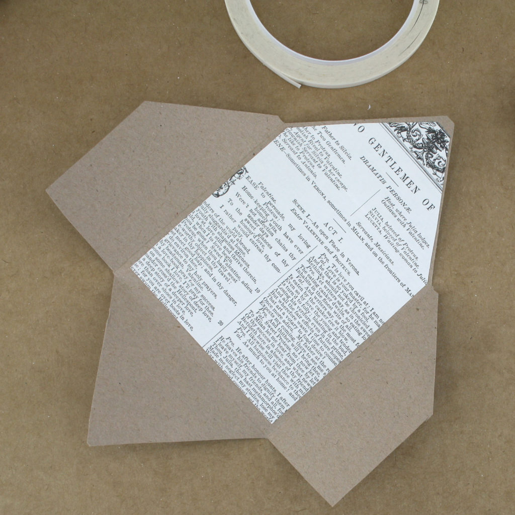 stick the inset down to the inside of your envelope