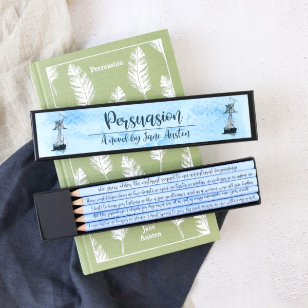 Persuasion by Jane Austen quote pencils handmade in Ireland by six0six design