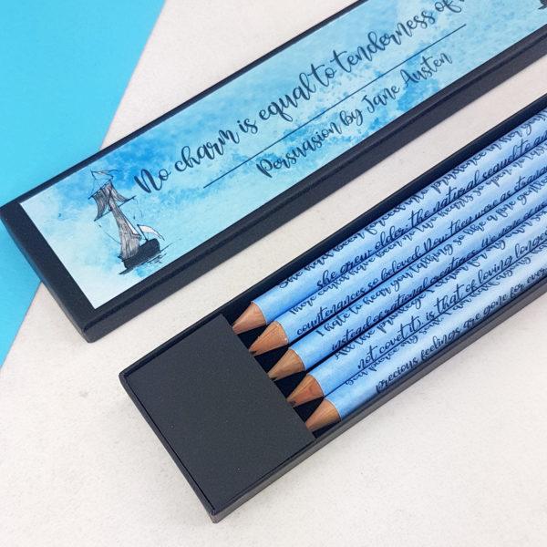 Personalised Jane Austen Gifts persuasion pencil set