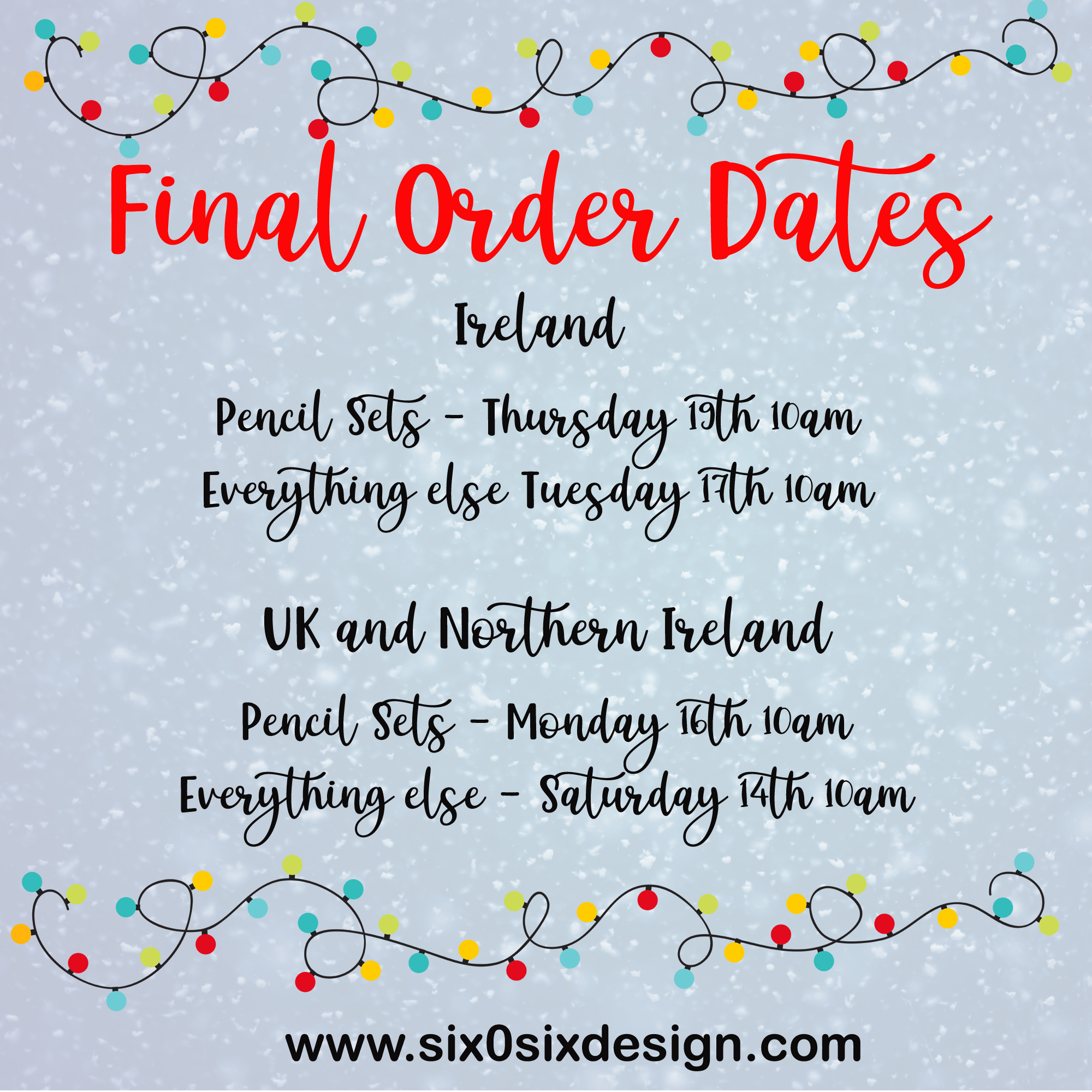 final order dates for Christmas 2019