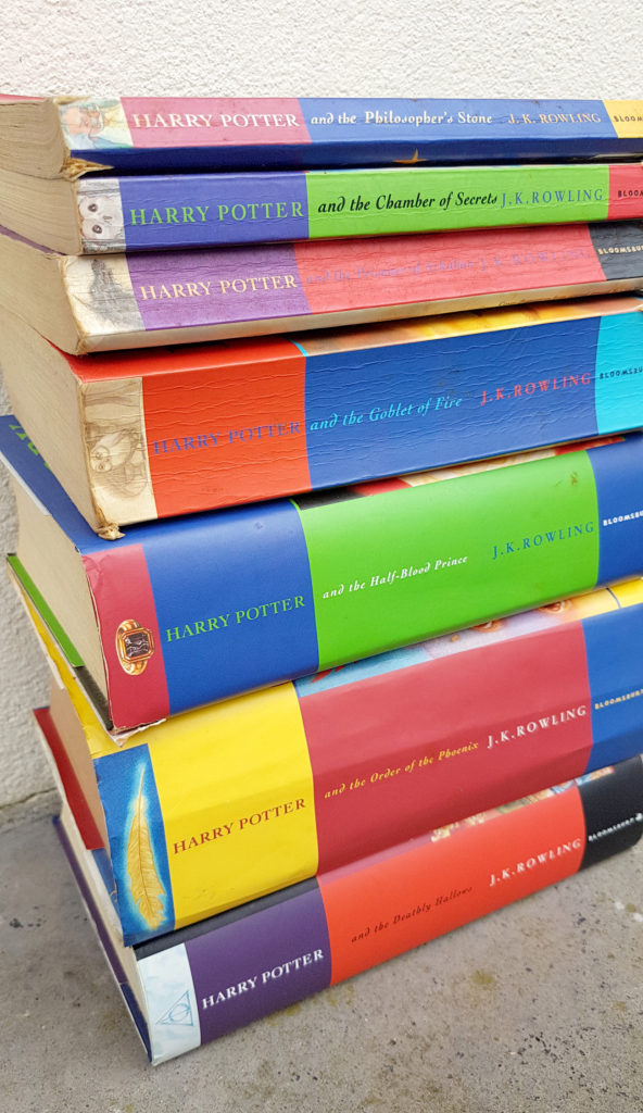 The Harry Potter childrens book series by jk Rowling