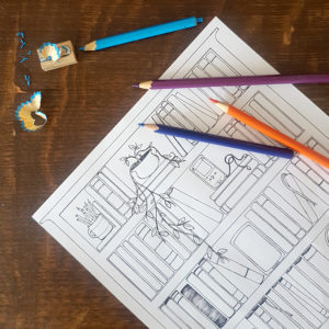 adult bookish themed colouring sheets from six0sixdesign