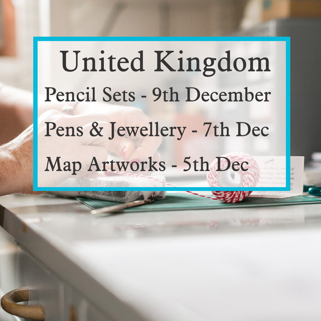 Last order dates for handmade gifts to the UK from six0six design