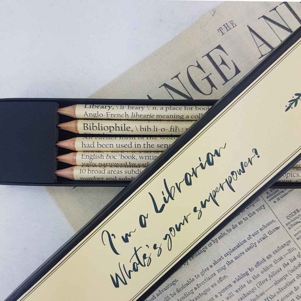 I'm a librarian what's your superpower pencil set. Librarian pencils to celebrate this vocation