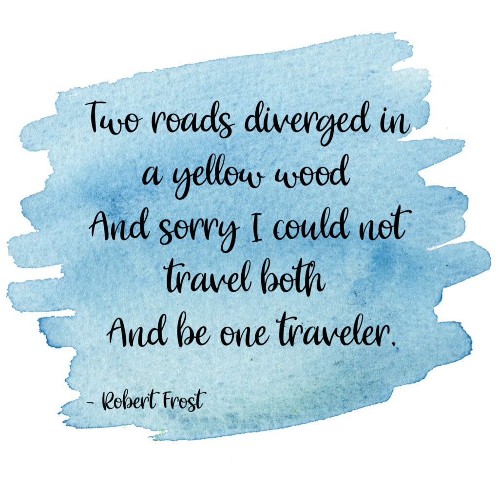 Two roads diverged in a yellow wood, my favourite poem by Robert Frost