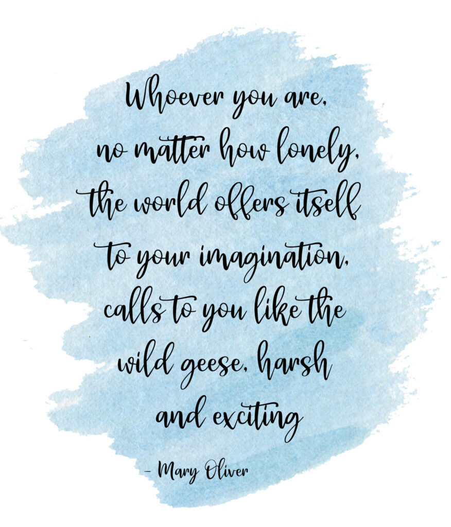 Whoever you are, no matter how lonely, the world offers itself to your imagination, calls to you like the wild geese, harsh and exciting  Wild Geese by Mary Oliver