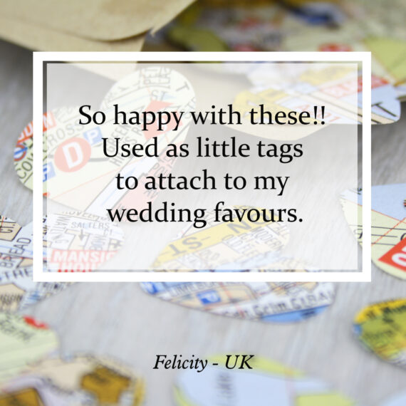So happy with these!! Used as little tags to attach to my wedding favours.