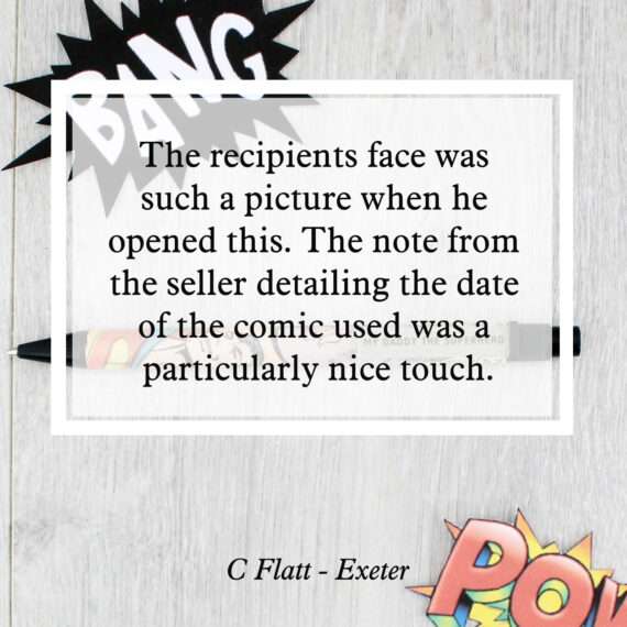 The recipients face was such a picture when he opened this. the note from the seller detailing the date of the comic used was a particularly nice touch
